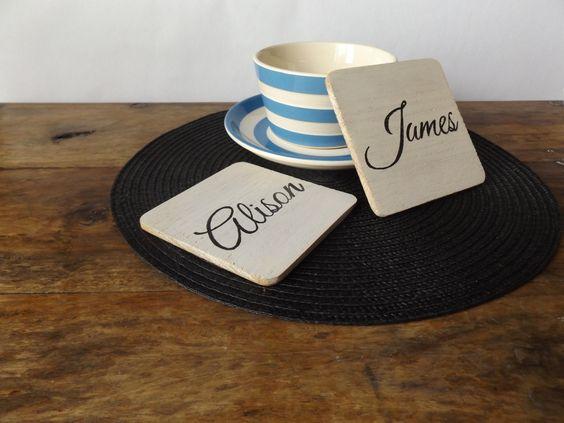 Personalised Coaster Set - Personalised coasters - oak wood coasters - wooden coasters - white coaster set - gift idea - housewarming gift - wedding gift - anniversary gift - wooden decor - Make Memento