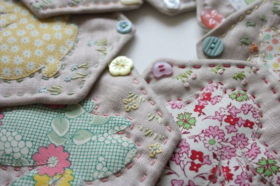 "Easter Bunny linen bunting done in 30s fabrics.  Bunny template under patterns, then click on ""Sewing Patterns."""
