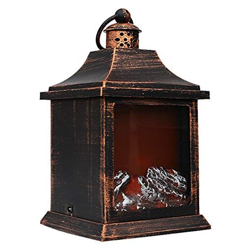 Decoration for Indoor /& Outdoor Warmth Atmosphere USB or Battery Powered LED Simulation Log Burning Flame Effect Light Fake Fire Fireplace Lantern