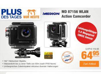 Plus: Actionkamera Medion Life S47124 für unter 60 Euro frei Haus https://www.discountfan.de/artikel/technik_und_haushalt/plus-actionkamera-medion-life-s47124-fuer-unter-60-euro-frei-haus.php Bei Plus ist heute als Schnäppchen des Tages die WLAN-Actionkamera Medion Life S47124 (MD 87156) zum Schnäppchenpreis von 64,95 Euro frei Haus zu haben – andere Online-Shops verlangen mindestens 21 Euro mehr. Mit einem Trick sinkt der Plus-Preis um weitere fünf Euro. Plus: Ac