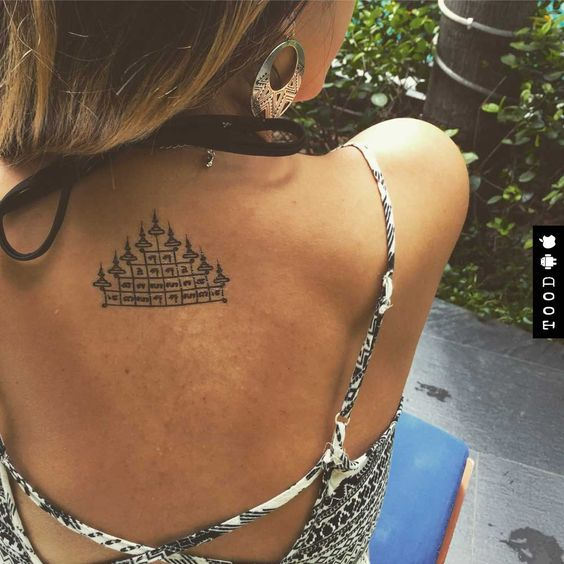 Thai sak yant temple temporary tattoo sticker on back