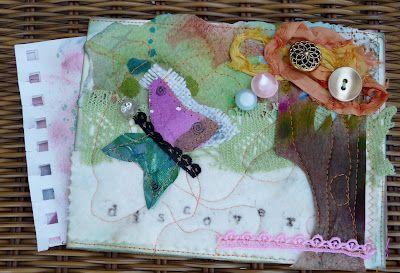 postcard swap, mixed media, paper, fabrics, stamps, buttons, sewing, www.justmiriamsstuff.blogspot.com