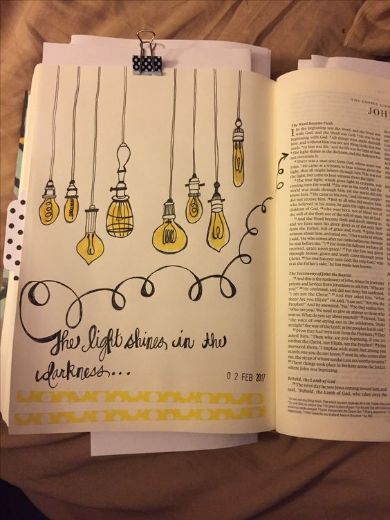 Bible journaling, John 1:5, the light shines in the darkness, washi tape, faith, hand drawn