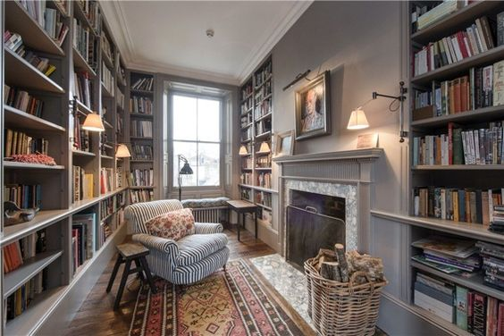 cozy, old-world library (would be beautiful in white, too)
