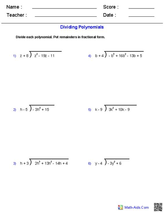 Multiplying Polynomials Worksheets | Math-Aids.Com | Pinterest ...