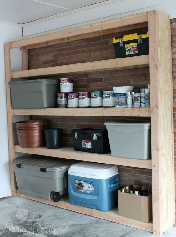 Shelves Garage And Diy Shelving On Pinterest