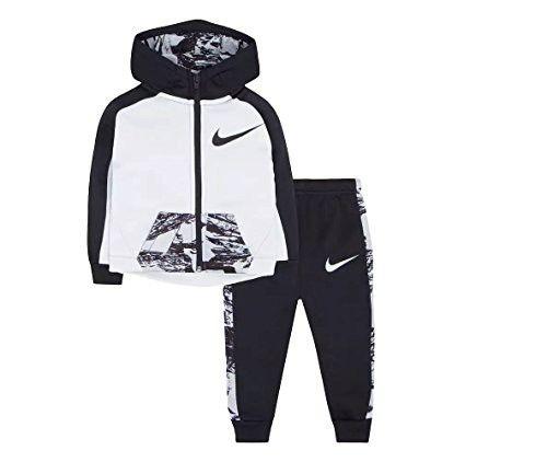 Nike Baby Boys Black and Volt Zip-up Athletic Hoodie and Pants Set