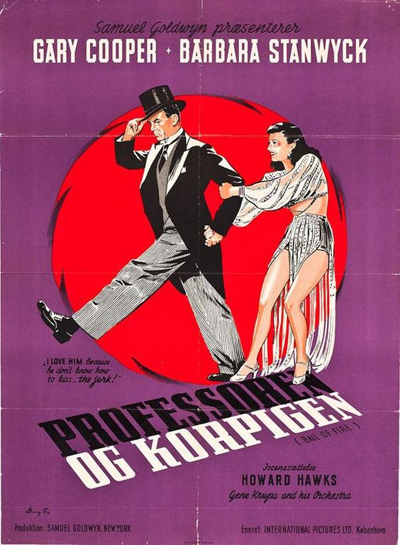A charming Danish poster for BALL OF FIRE: