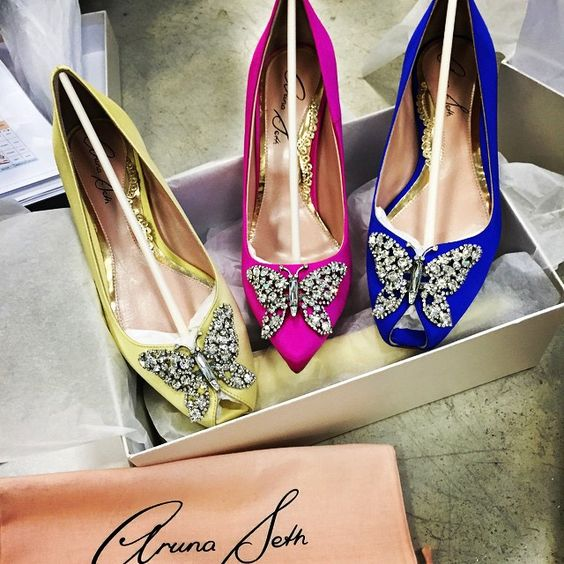 Aruna Seth Pointy Toe and Crystal Butterfly Pointy Pumps