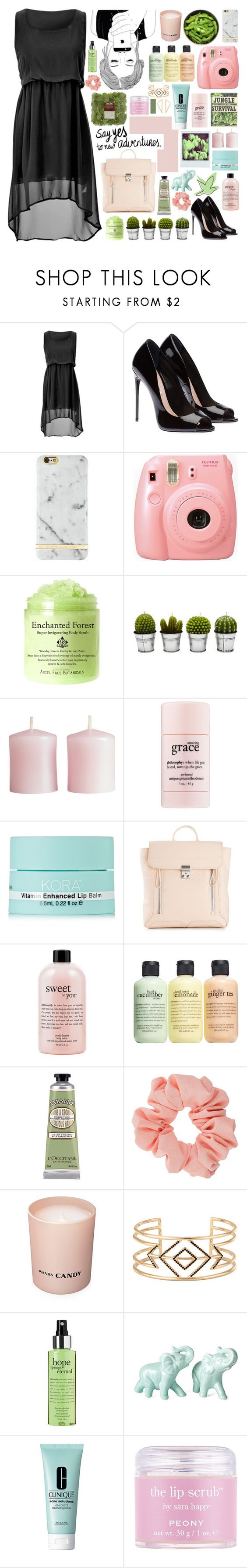"""say yes to new adventures"" by outfitsbyamalia ❤ liked on Polyvore featuring Richmond & Finch, Fujifilm, Martha Stewart, Billabong, H&M, philosophy, KORA Organics by Miranda Kerr, Polaroid, 3.1 Phillip Lim and L'Occitane"