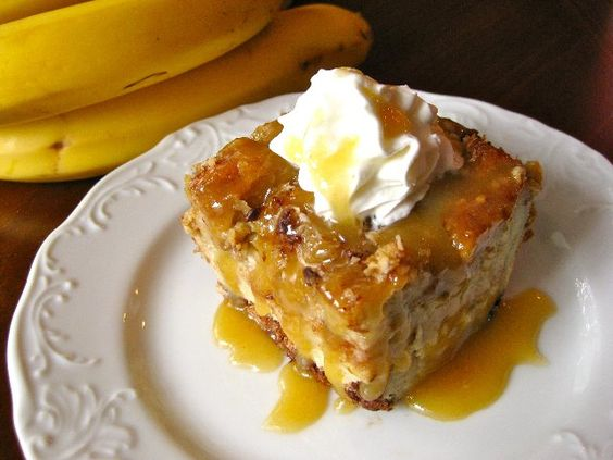 Coconut banana bread pudding.