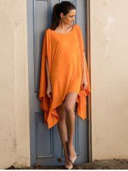 Stylish Batwing Sleeve Asymmetric Solid Color Tops For Women (ORANGE,3XL)   Sammydress.com Mobile
