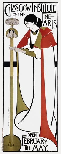 The formal, angular style incorporating Celtic symbols deployed by architect, designer and watercolourist Charles Rennie Mackintosh (1868-1928) defined the Glasgow school, along with the Macdonald sisters and Herbert McNair. Together, they were known as The Four.