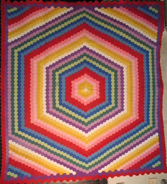 Hexagons to the max - a 1930s vintage pieced quilt in solid color cottons from my inventory of several dozen hexagon quilts from the 19th and 20th centuries, turns out I love and collect hexagon variations
