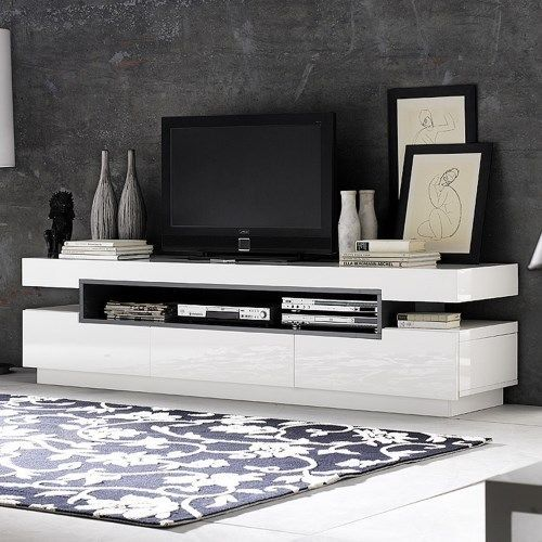 Tv Tables Menard High Gloss Tv Unit: Evoque Rectangular High Gloss White TV Unit With Grey High