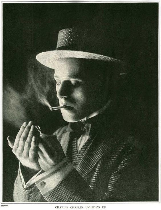 Charlie Chaplin Lighting Up, 1916