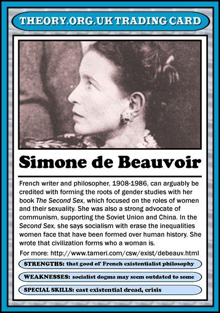 Simone de Beauvoir - Theory.org.uk trading cards