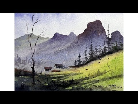 Dry Brush Watercolor Technique Watercolor Landscape