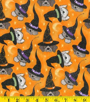 Holiday Inspirations Fabric- Halloween Dogs In Witch Hats Glitter