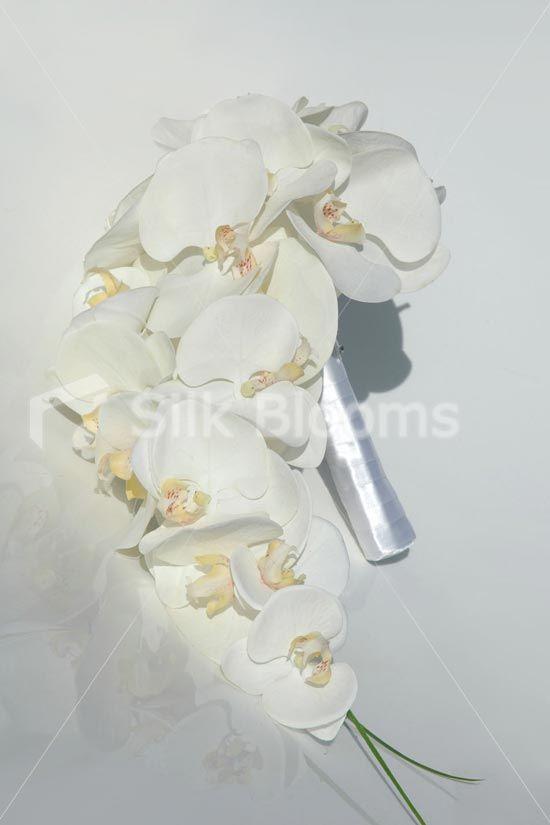 Elegant White Bridal Bouquet : Elegant white phalaenopsis orchid cascading bridal bouquet