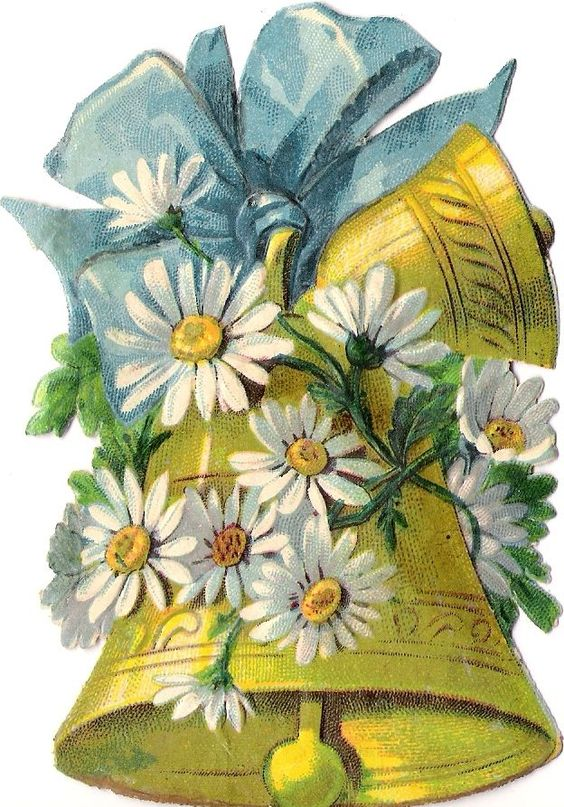 Oblaten Glanzbild scrap die cut chromo Ostern easter bell Oster glocke 11,5cm: