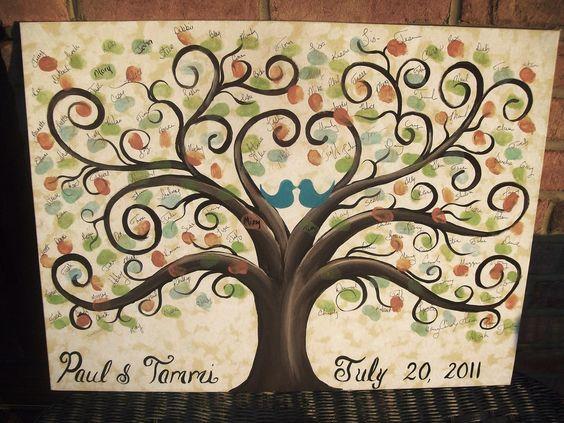 Wedding Thumbprint Guest Canvas....16 x 20....75 - 100 guests....Great Wedding guest book alternative