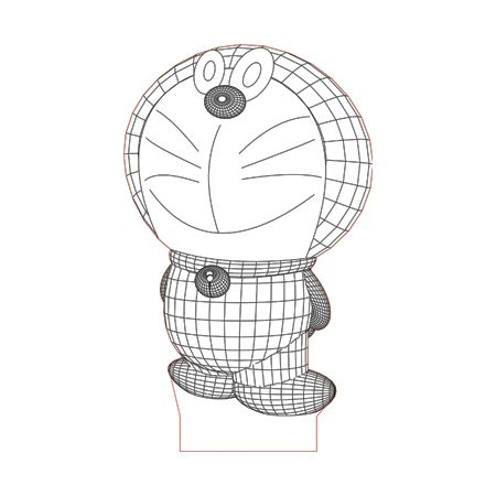 Doraemon Cat 3d Illusion Lamp Plan Vector File For Laser And Cnc 3bee Studio 3d Illusion Lamp 3d Illusions 3d Illusion Art