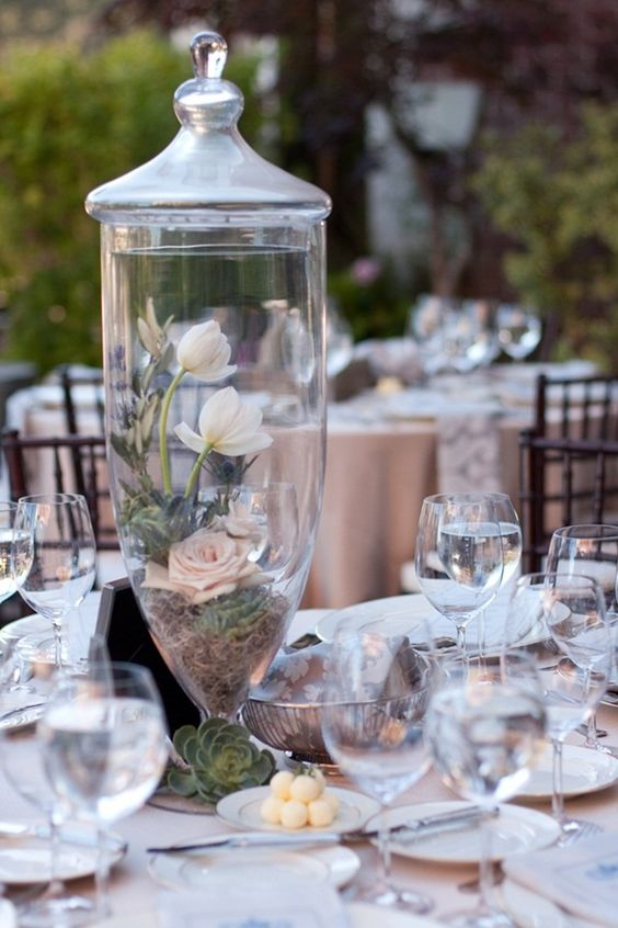 apothecary jar, decorative candy jar or terrarium - just add flowers with either moss or split pea filler!