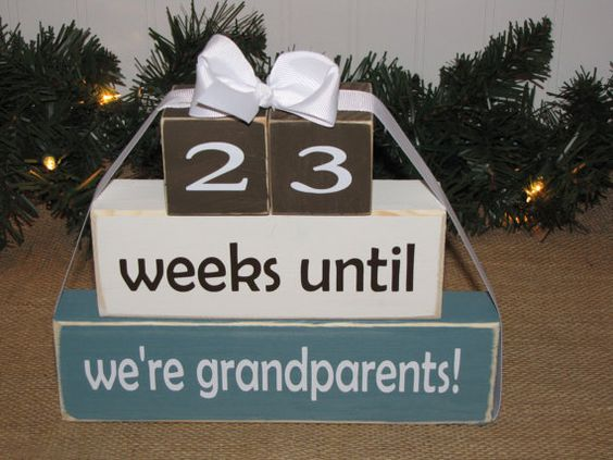 Grandparent countdown Wood Blocks Pregnancy announcement – Baby Announcement for Grandparents