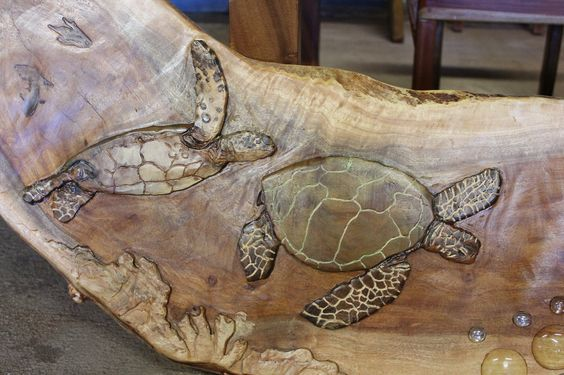 Turtle Wood Carving  WoodWorkingHawaii.com Koa Furniture - Kini @ WoodWorkingHawaii 808-227-9473  koa furntiure, reclaimed wood, night stands, real wood furntiure, koa wood, slab furniture, custom furniture, wood