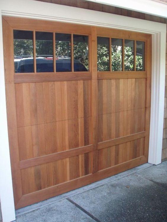Clear Western Red Cedar Garage Door With Liftmaster Opener