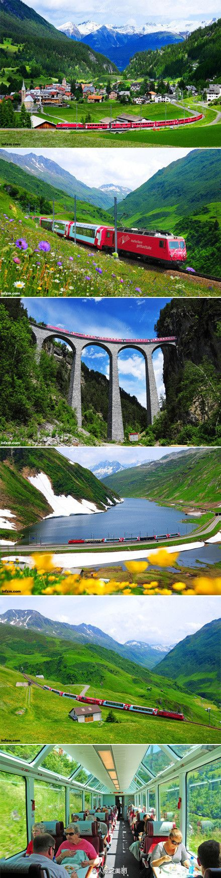 The Glacier Express travels from Zermatt to Davos or St. Moritz in around 7 hours via 91 tunnels and across 291 bridges.