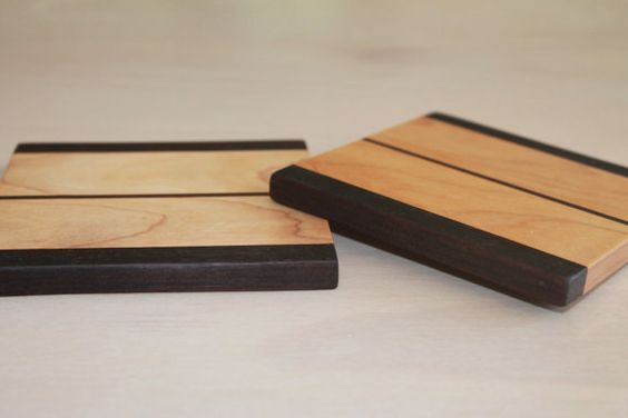 Maple and Black Walnut striped wood coasters (set of 2)