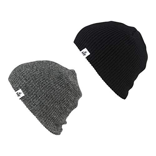 MENS CONTRAST KNITTED THERMAL  BEANIE HAT WARM WINTER SKI WOOLLY BLACK//GREY