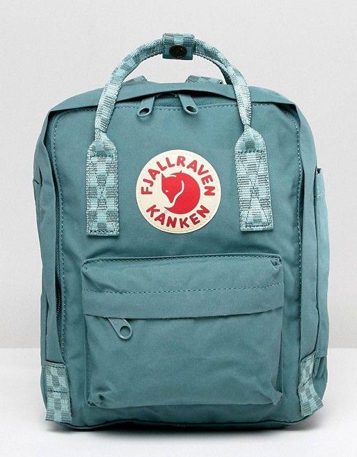 Fjallraven Mini Kanken Frost Green Backpack With Contrast Stripes Kanken Mini Kanken Kanken Backpack Mini