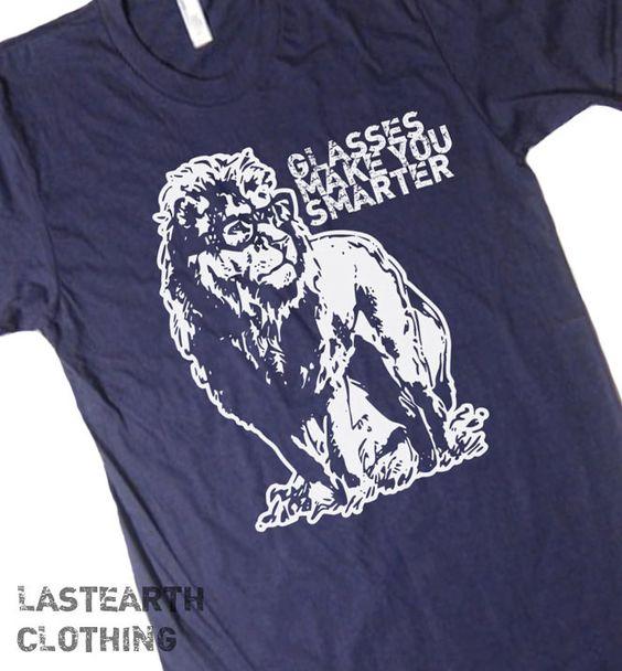 Glasses Make You Smarter T Shirt Funny T Shirt Lion T Shirt Book Reading T Shirt Geek T Shirt Animal T Shirts Nerds T Shirt Mens T Shirt