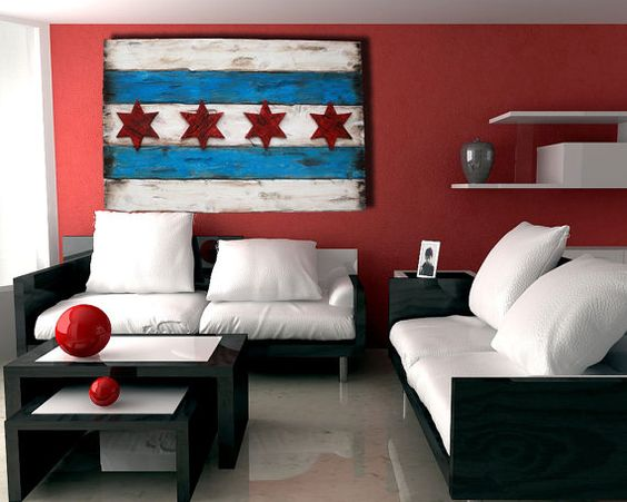 Handmade, Distressed Wooden Chicago Flag, vintage, art, distressed