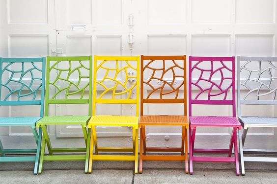 @SocietySocial Fifi Folding C$hair. Frolic-Inducing #Foldingchairs for Impromptu fetes! She's bold, colorful, and a sassy solution for spontaneous socials and big city, #smallSpaces living! #color #chairs #painted furniture