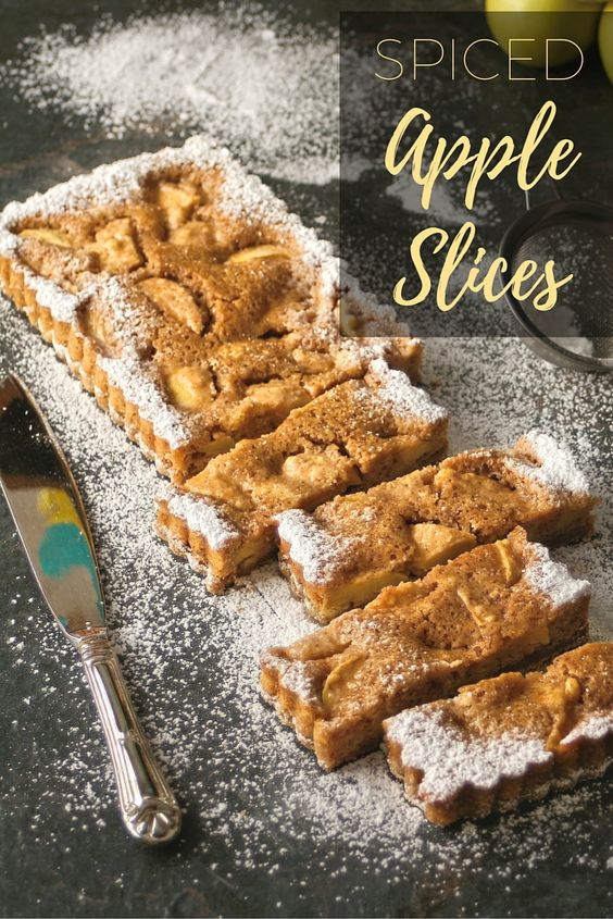 Spiced apple slices - a delicious autumn bake that is sort of like a cake, looks like a tart and tastes like apple pie. Win win really!
