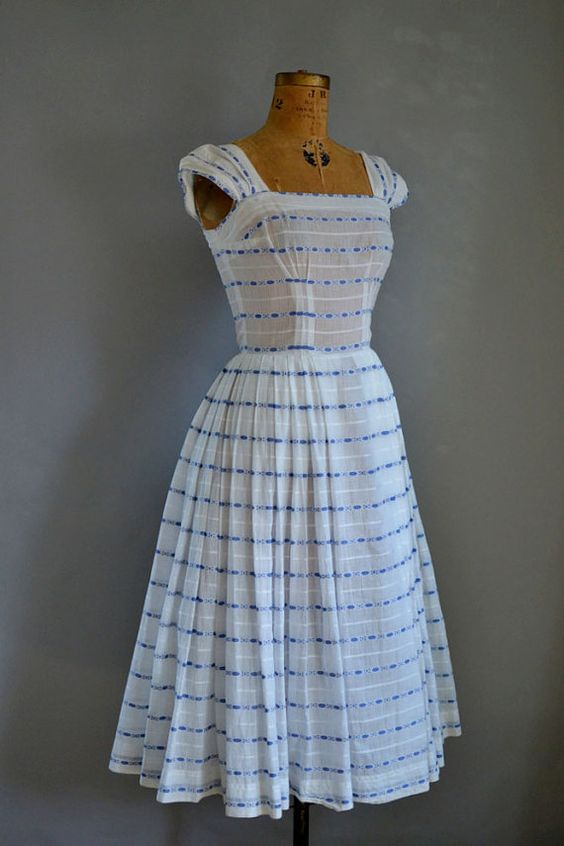 Pretty sundress \\ 1950s  Striped Dress / 50s Embroidered Sundress by FemaleHysteria, $165.00