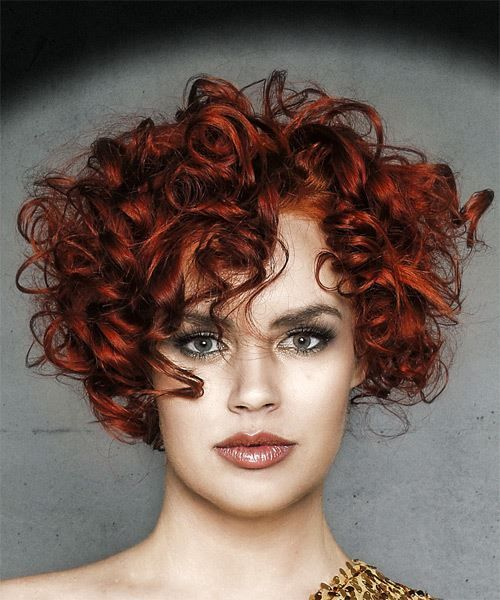 Short Curly Dark Red Hairstyle With Layered Bangs In 2020 Curly Hair Photos Curly Hair Styles Short Curly Hair