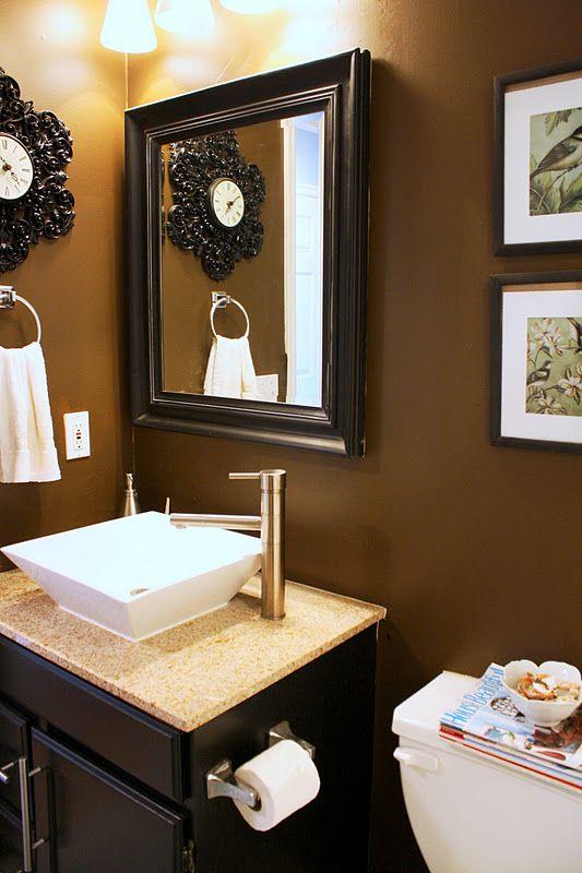 Chocolate walls bathroom and chocolate on pinterest for Peach tile bathroom ideas