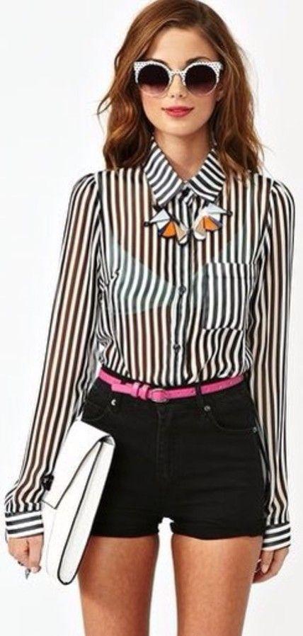 Black & white vertical striped v neck sheer long sleeve blouse #Blouse #buyable