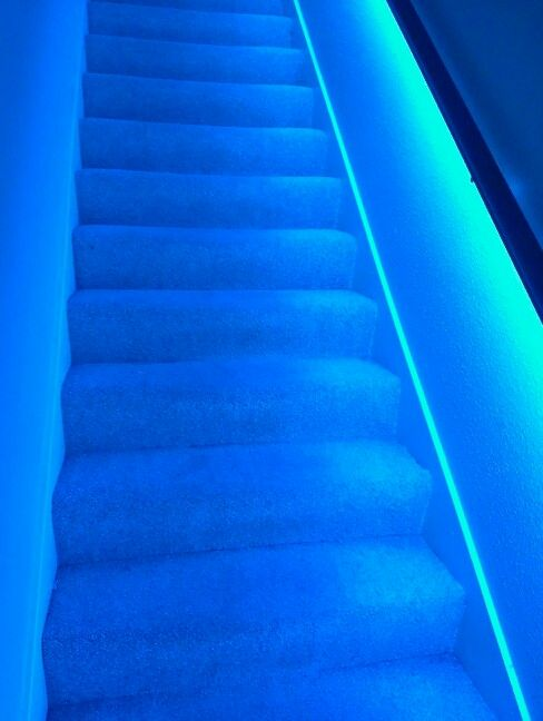 L.e.d. Strip Lights Underneath Stair Banister | Home | Pinterest | Stair  Banister, Banisters And Lights