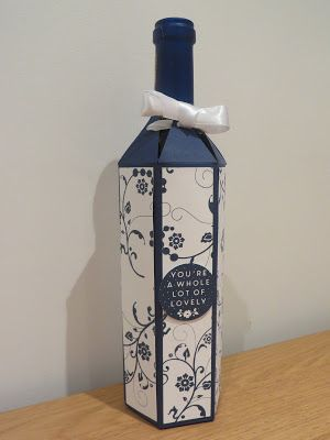 Gift Box for a Bottle of Wine Tutorial - Using Flowering Flourishes by Stampin' Up, Full size wine bottle gift bag.