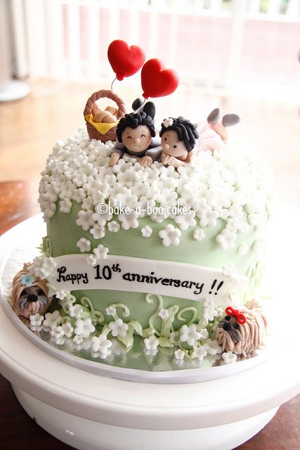 10th Wedding Anniversary Cake by Bake-a-boo Cakes NZ, via Flickr