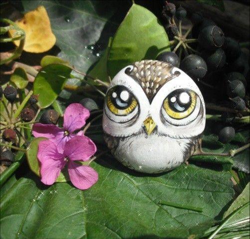 Hand-painted Rock Art Magnet - Owl