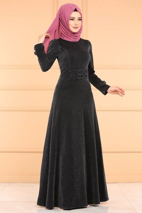 Modaselvim الفساتين Kemer Detay Simli Elbise 0531al357 Siyah Elbise The Dress Giyim