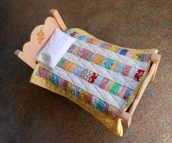 Vintage 1940's Doll Bed Repurposed With Handmade Quilt, Sheet, Pillow and Pillowcase
