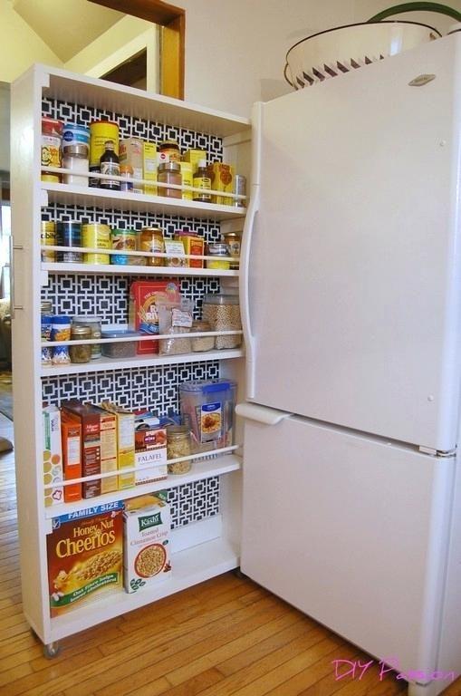 Narrow Pull Out Pantry Cabinet Fridge Gap Slide Shelves Roll